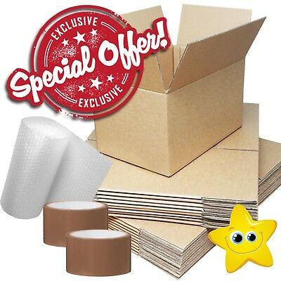 """10 x STRONG X-LARGE DOUBLE WALL Removal Moving Boxes 24x18x18"""" + BUBBLE + TAPE"""
