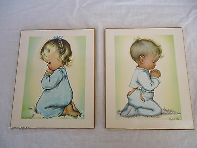 2 Block Mounts VINTAGE Bless Us All & Childs Prayer CHARLOT BUI Boy Girl H52/53