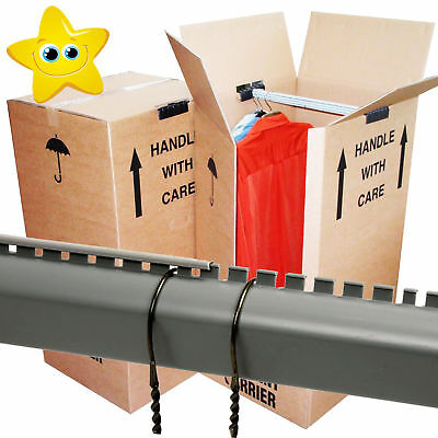 5 Large Double Strong Removal Moving Wardrobe Cardboard Boxes With Hanging Rails
