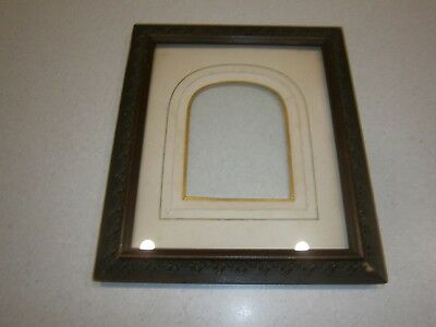 Vintage Wooden Ornate Frame With Glass Insert And Arch Cardboard Board- 17.5X21