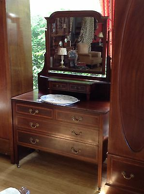 Antique Edwardian Dressing Table In Beautiful Rosewood Box Inlay