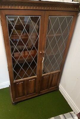 Vintage oak glazed & leaded.priory style book case