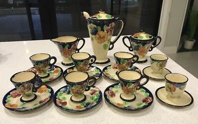 """""""Pansy""""Coffee Set (Made In Japan) Old China  Pot, Sugar, With 2 Egg Cup Holders"""