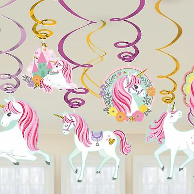 Pink Unicorn Swirl Hanging Ceiling Decorations Glitter Girls Birthday Pony Party