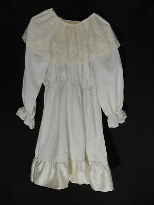 1970's Vintage Girl's Long Sleeved Dress with Lace Cowl Neck.