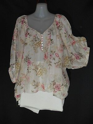 "1990's Vintage Short Sleeved ""Forever New"" Loose Fitting Floral Silk Top."