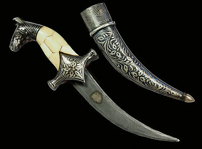 Bidri Indian islamic Damascus Steel Knife Khanjar Dagger choora Messer Dolch N27