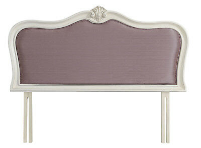 Ava Antique White French Wood Upholstered Headboard (Choice Of Fabric Colours)