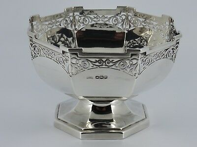 Solid Sterling Silver Art Deco Octagonal Fruit Rose Bowl Sheffield 1919 379G