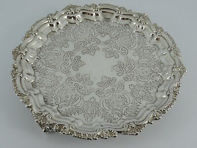 Superb Solid Sterling Silver Playing Card Salver Waiter Chester 1909 152G