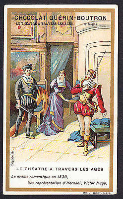 French Trade Card 6.5cm X 10.7cm Theatre through the ages Theatrical in 1830s