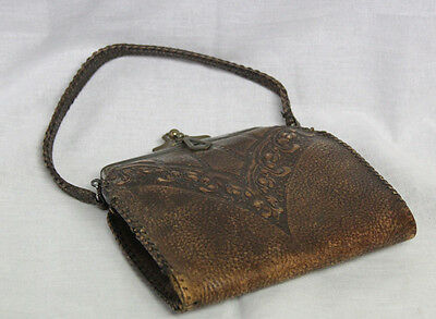 Antique Leather Hand Tooled & Stitched Purse with Brass Hardware- Stamped inside