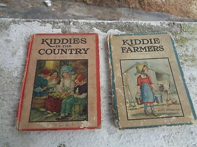Vintage Lot Of 2 1920's Kiddies In The Country Farmers Books Book Cupples Ny