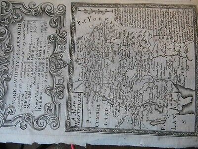 Westmorland:york Pickering-Whitby-Ancient Travel Maps 1715:Both Sides Of Sheet