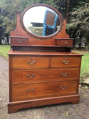 Antique Edwardian Inlaid Dressing Chest Dressing Table
