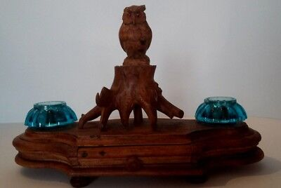 Encrier porte plume bois sculpté forêt noire hibou Antique french wood carved