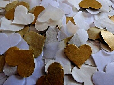 Gold, Ivory, White Tissue Throwing Wedding Party Celebration Heart FILL 8 CONES