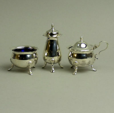 George V Antique Silver Three Piece Cruet Set Birmingham 1930 125Grams