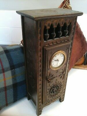 Arts and Crafts Carved &Turned wood Mantel Clock