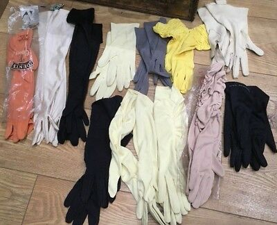 12 pairs of Ladies Vintage Cloth Gloves long, mid length, short varied colours