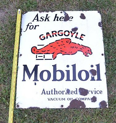 Original GARGOYLE MOBIL OIL PORCELAIN ENAMEL SIGN  VACUUM OIL COMPANY