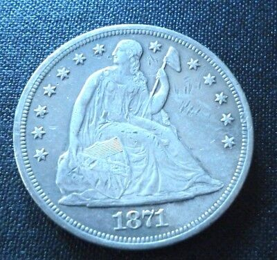 1871-Seated Liberty Silver Dollar-Rare-Great Condition