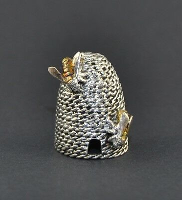 Sterling Silver 925 Thimble - Beehive And Bee - Sale Collection