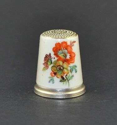 Julius Wengert Sterling Silver 925 Germany Enamel Thimble - Flowers - Sale Colle