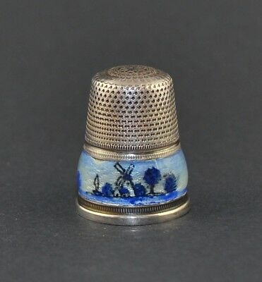 Sterling Silver 925 Enamel Windmill Thimble - Sale Collection
