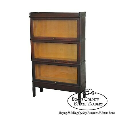 Antique Mahogany 3 Section Stacking Barristers Bookcase by Macey