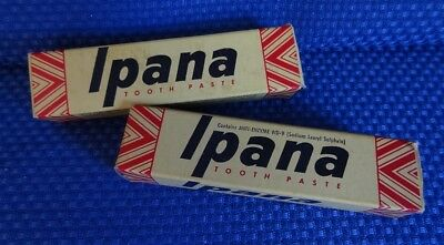 Vintage IPANA Tooth Paste - Lot of 2 Tin Tubes with original boxes