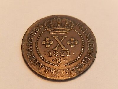 Brazil 1820 R  Copper 10 Reis Coin