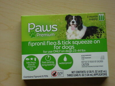 PAWS PREMIUM - Fipronil Flea & Tick Squeeze - Dogs - 23-44 lbs - 3 Month Supply