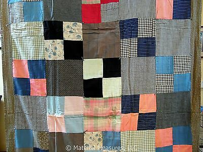 Antique Quilt c1910 - 2 Sided Tied Comfort with Lots of Plaids, and More