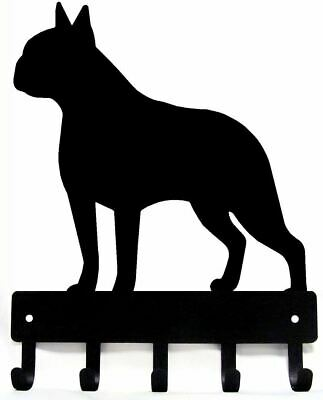"Boston Terrier Dog Leash Hanger Metal Key Rack Holder 5 Hooks Small 6"" US Made"
