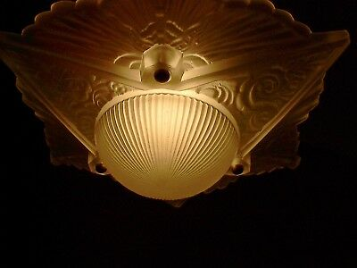 Art Nouveau Frosted Tri Star Moon Shade 3 Chain Ceiling Light Fixture