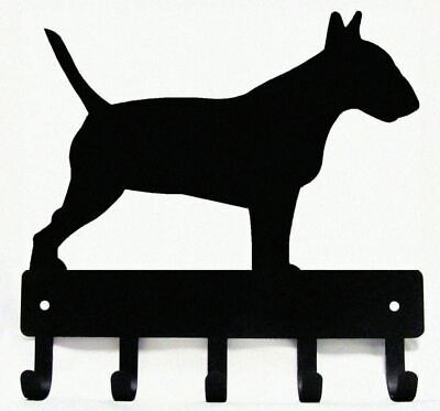 "Bull Terrier Dog Leash Hanger Metal Wall Key Rack Holder 5 Hooks Sm 6"" Made USA"