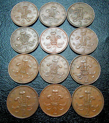 Great Britain 2 New Pence coins Lot of 12 Collectors' Choice