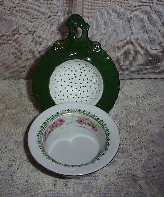 Victoria Austria Hand Painted Green And White Porcelain Tea Strainer & Drip Bowl