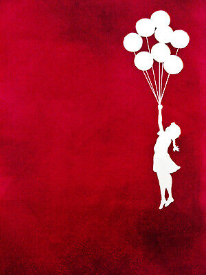 Banksy Framed Canvas Street  graffiti Urban  Art Print girl balloons red