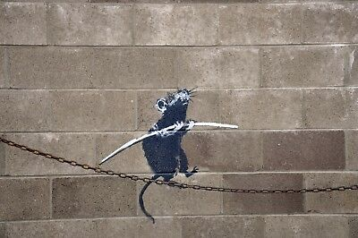 Banksy Framed Canvas Street  graffiti Urban  Art Print rat tightrope
