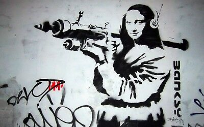 Banksy Framed Canvas Street  graffiti Urban  Art Print bazooka mona lisa stencil