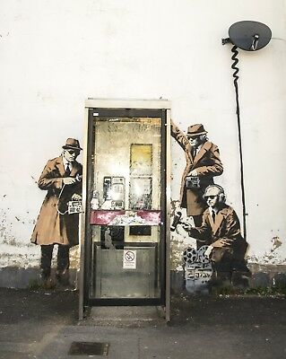 Banksy Framed Canvas Street  graffiti Urban  Art Print telephone box