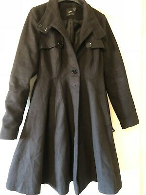 ASOS black maternity belted swing coat size 10