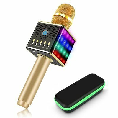 H8 Wireless KTV Karaoke Microphone With Built in 48 LED Light Gold