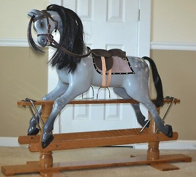 hand carved dapple grey wood Rocking Horse on swing stand