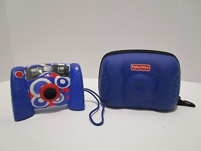 Fisher Price Kids Digital Camera Blue, White, Red Kid Tough With Case