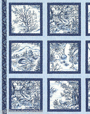 Delft Blue Woodland Forest Vintage Look Cabin Owls Fox  Fabric Panel Blank Texti