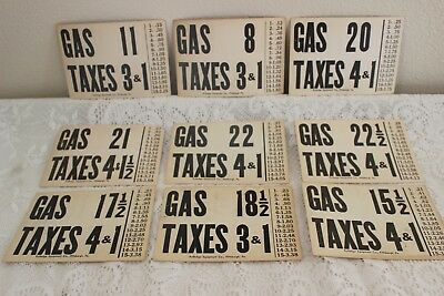 9 Vintage 1940's Gas (Tax)  Pump Price Card Rutledge Equipment Co Pittsburgh Pa