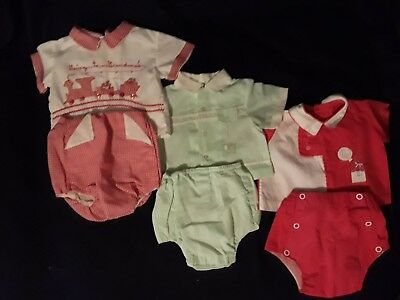 (3) RARE Vintage Newborn Set Top and Bottom Clothing See Scans